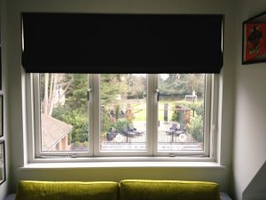 Made to Measure Black Roman Blinds - Material Concepts Battersea