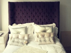 Purple Tufted Headboard by Material Concepts